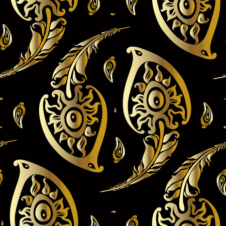 Illustration pour Beautiful peacock feathers. Gold pattern. - image libre de droit