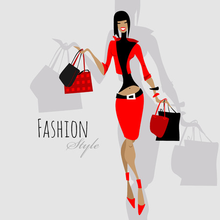 Photo pour Fashion girl. Woman with shopping bags. - image libre de droit