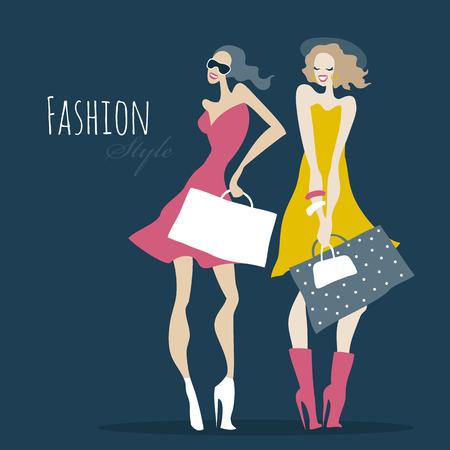 Ilustración de Fashion girls. Women with shopping bags. - Imagen libre de derechos
