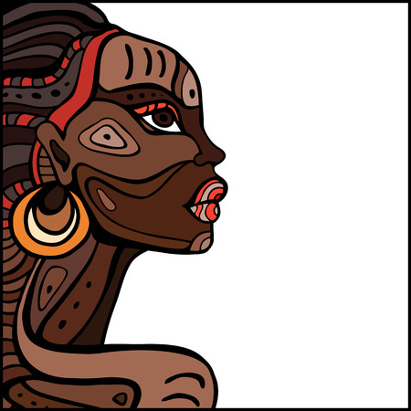 Illustration for Profile of beautiful African woman. Hand drawn ethnic illustration. - Royalty Free Image