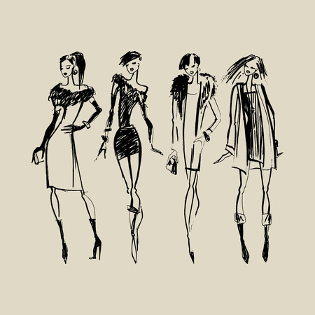 Photo pour Silhouettes of Beautiful Women. Hand drawn ink Fashion illustration. - image libre de droit