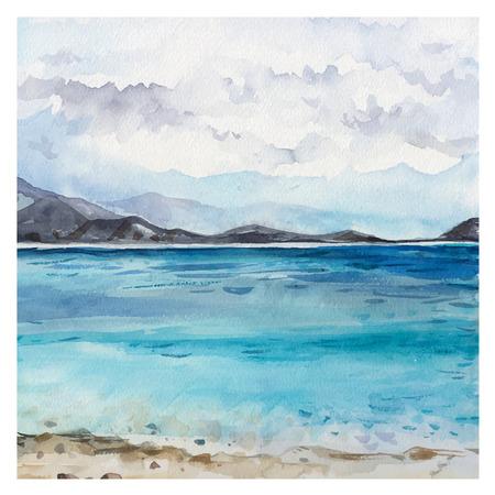 Illustration pour Watercolor Sea background. Hand drawn painting. Summer marine landscape. - image libre de droit