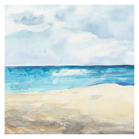 Illustration for Watercolor Sea background. Hand drawn painting. Summer marine landscape. - Royalty Free Image