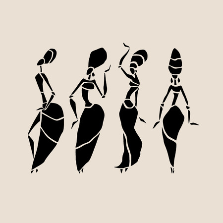 Illustration pour Figures of african dancers. Dancing woman in ethnic style. Vector  Illustration. - image libre de droit