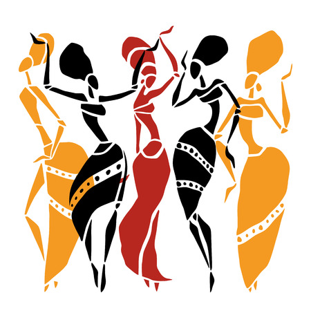 Illustration for Figures of african dancers. Dancing woman in ethnic style. Vector  Illustration. - Royalty Free Image