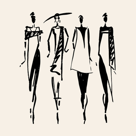 Illustration for Beautiful Woman silhouette. Hand drawn fashion illustration. - Royalty Free Image