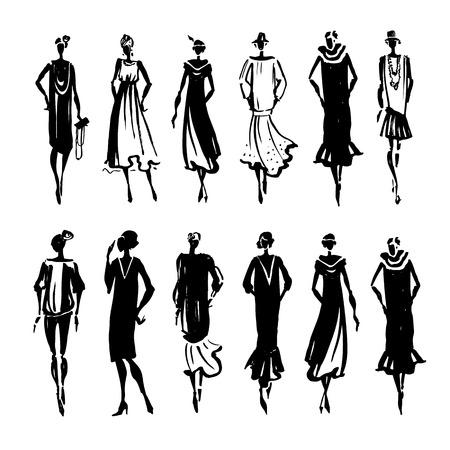 Ilustración de Retro Woman silhouette. Trace Hand drawn, fashion illustration - Imagen libre de derechos