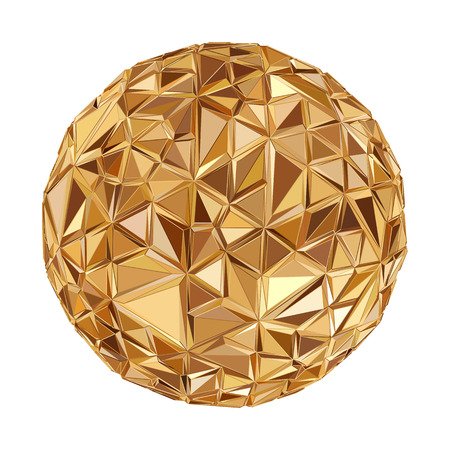 Illustration pour Abstract 3D geometric illustration. Disco ball Isolated over white. - image libre de droit