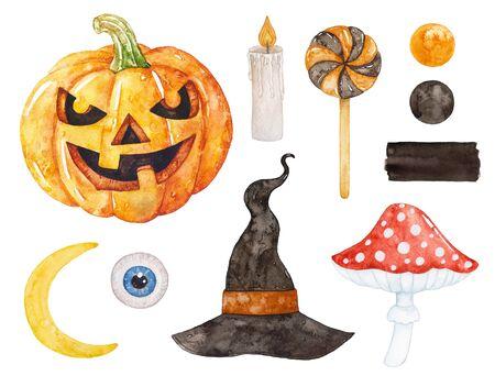 Foto de Watercolor Halloween collection. Witch hat, moon, candle, pumpkin, fly agaric. - Imagen libre de derechos