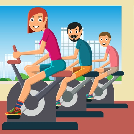 Illustration pour A young girl and men are engaged in training on a stationary bike. Caring for health and good mood. Vector illustration - image libre de droit