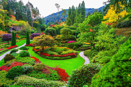 Photo for Butchart Gardens -  gardens on Vancouver Island. Flower beds of colorful flowers and walking paths for tourists. The world-famous masterpiece of park architecture - Royalty Free Image