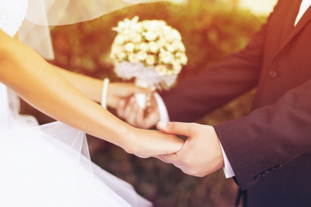 Photo pour Wedding couple holding hands - image libre de droit