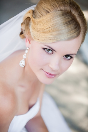 Photo for Beautiful bride outdoors - soft focus - Royalty Free Image