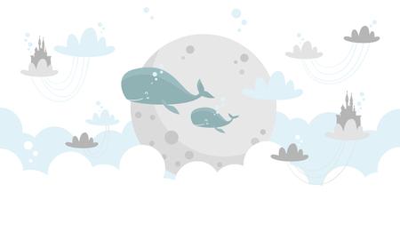 Illustration pour whales underwater Vector illustration. - image libre de droit