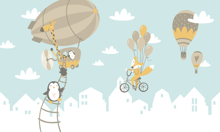 Illustration pour animals on balloons Vector illustration. - image libre de droit