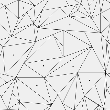 Illustration pour Geometric simple black and white minimalistic pattern, triangles or stained-glass window. Can be used as wallpaper, background or texture. - image libre de droit