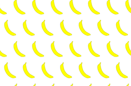 Illustration pour The pattern is seamless from tropical, African, yellow, bright, tasty, juicy, fresh, hand-drawn bananas with a black stroke on a green background. - image libre de droit