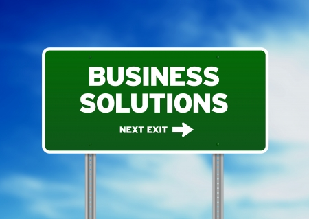 High resolution graphic of a Business Solutions highway sign on Cloud Background.