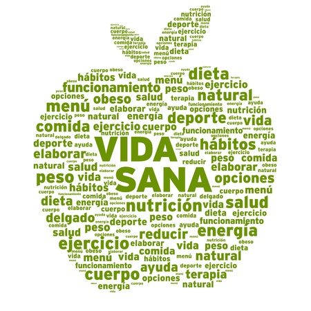Photo pour Healthy Living Apple Word Cloud Illustration - image libre de droit