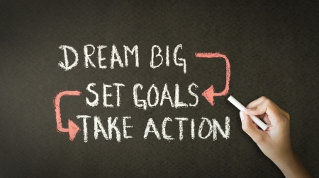 Foto de A person drawing and pointing at a Dream Big, Set Goals, Take Action chalk illustration - Imagen libre de derechos