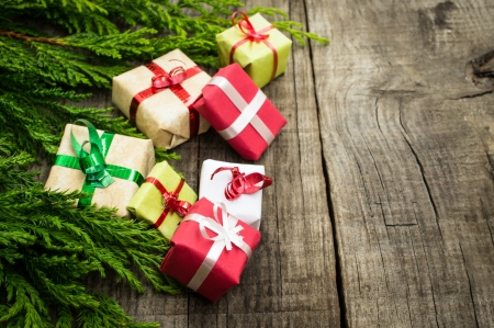 Photo for Christmas Decoration with presents on wood textured background.  - Royalty Free Image