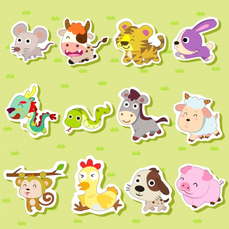Photo pour 12 Chinese Zodiac animal stickers,cartoon vector illustration - image libre de droit