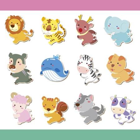 Illustration for cute cartoon animal icon set, vector - Royalty Free Image