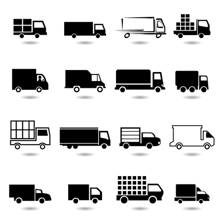 Ilustración de vector set of different truck symbols  All vector objects are isolated  - Imagen libre de derechos
