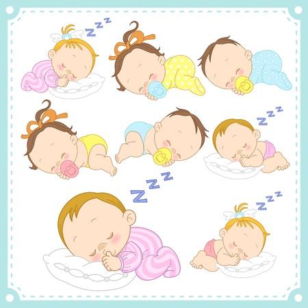 Ilustración de  illustration of baby boys and baby girls with white background  - Imagen libre de derechos