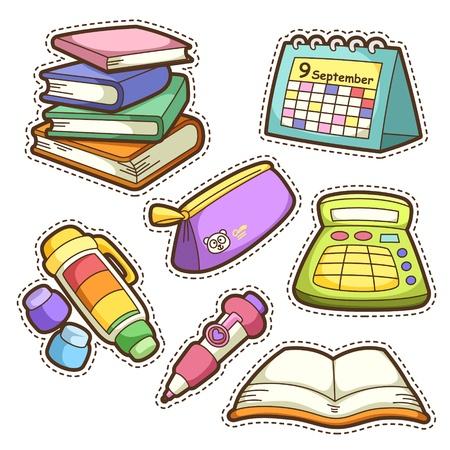 Illustration pour school set. set of different school items, vector illustration. - image libre de droit