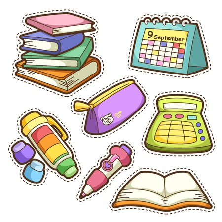 Illustration for school set. set of different school items, vector illustration. - Royalty Free Image