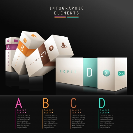 Illustration pour 3d box infographic elements - image libre de droit