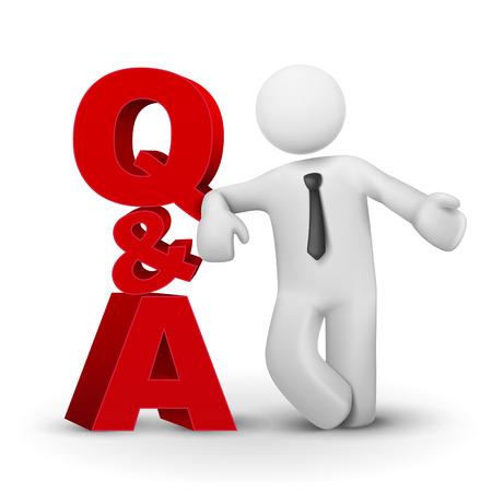 Illustration pour 3d businessman presenting concept word Q A isolated white background - image libre de droit