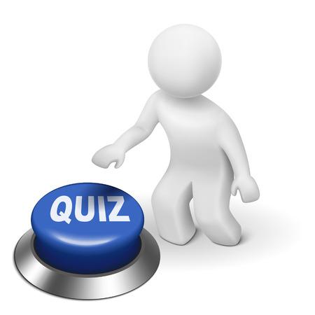 Illustration pour 3d man is pushing the quiz button isolated white background - image libre de droit