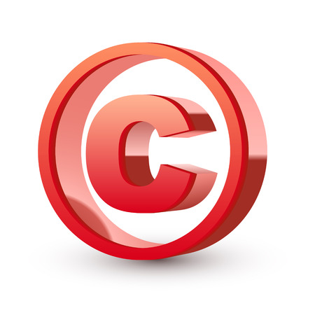 Illustration for red glossy copyright symbol isolated white background - Royalty Free Image