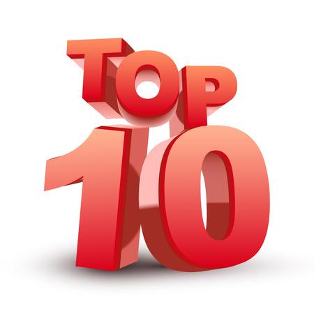 Ilustración de Top ten red word isolated white background - Imagen libre de derechos