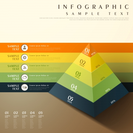 Photo pour flat style abstract 3d pyramid chart infographic elements - image libre de droit