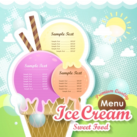 Illustration for restaurant ice cream menu cover vector design template - Royalty Free Image