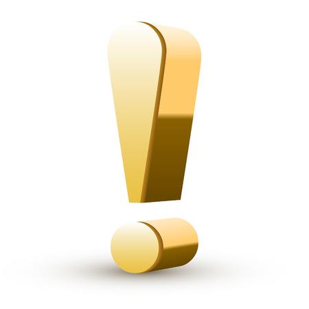 Ilustración de golden exclamation mark isolated white background - Imagen libre de derechos