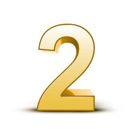 Illustration pour 3d shiny golden number 2 on white background - image libre de droit
