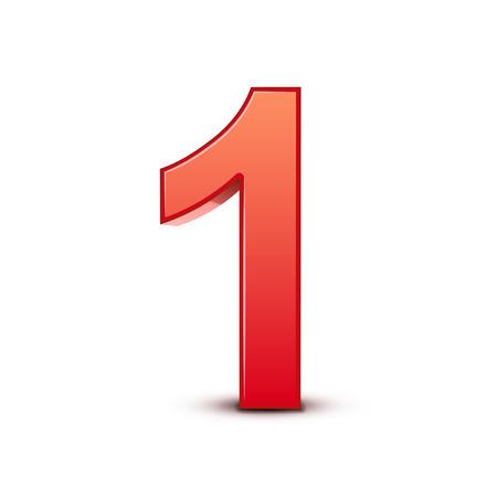 Ilustración de 3d shiny red number 1 on white background - Imagen libre de derechos