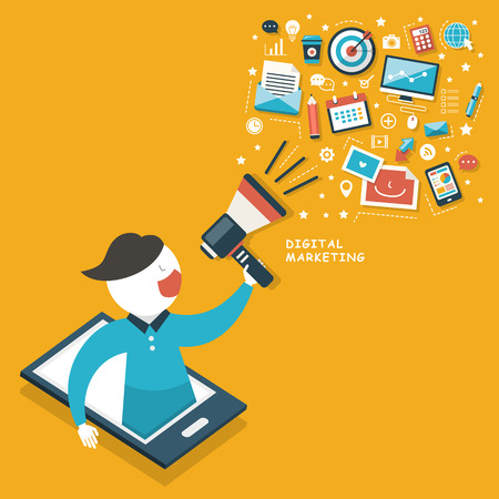Illustration pour flat design megaphone with cloud digital marketing concept - image libre de droit