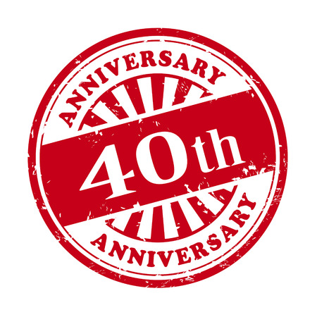 Illustration pour illustration of grunge rubber stamp with the text 40th anniversary written inside - image libre de droit