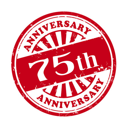 Illustration pour illustration of grunge rubber stamp with the text 75th anniversary written inside - image libre de droit