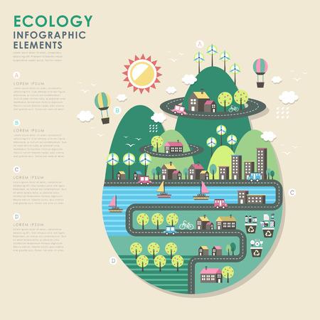 Illustration pour vector ecology illustration infographic elements flat design - image libre de droit