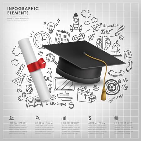 Ilustración de graduation concept vector illustration infographic elements design - Imagen libre de derechos