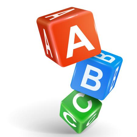 Illustration pour vector 3d dice with word ABC on white background - image libre de droit