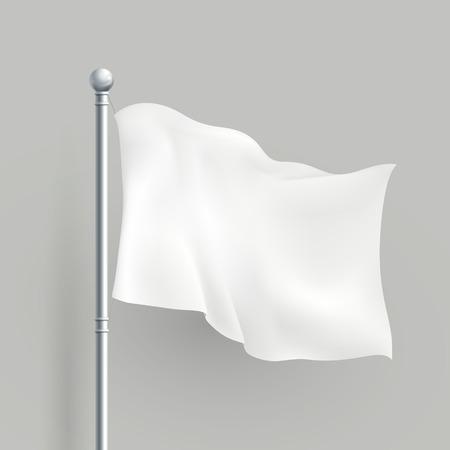 Illustration for 3d modern vector white flag blank template - Royalty Free Image