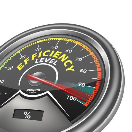 Ilustración de efficiency level conceptual meter indicate hundred percent, isolated on white background - Imagen libre de derechos