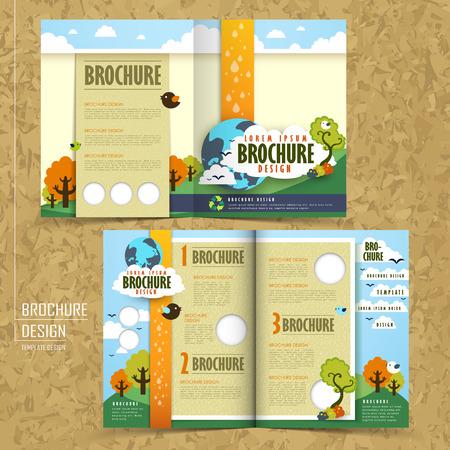 Illustration pour half fold template of brochure design with the concept of environmental - image libre de droit